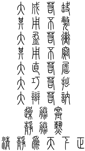 Seal script for Daodejing / Tao Te Ching Chapter 45